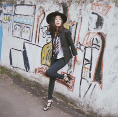 Top, Blazer, Jeans - Unbranded | Scarf - Auntie's Scarf | Hat - Fab.Id | Shoes - Yongki Komaladi #fashion #personalstyle