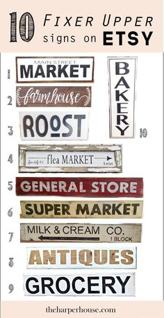 F I X E R U P P E R style signs on Etsy like Joanna Gaines uses and where to find them   The Harper House