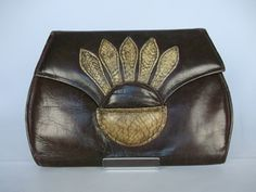 1920s Art Deco Leather & Snakeskin Curvy Clutch Bag