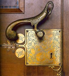 Door handle on the entrance to the Bremen City Hall Council Room in Bremen, Germany. 1905. Designed by Franz von Stuck.