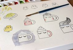 Coffee cups sketches by Les Folles Marquises, via Flickr