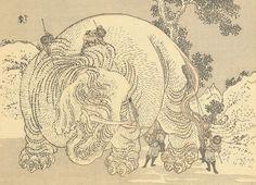 Men Washing an Elephant by Hokusai