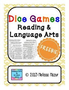 LOVE THIS Dice Games - Reading and Language Arts - Freebie!