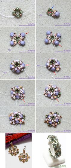 Seed bead jewelry Tutorial : Gisela Level : Beginner – Intermediate Discovred by : Linda Linebaugh Beaded Bracelets Tutorial, Beaded Bracelet Patterns, Earring Tutorial, Seed Bead Bracelets, Beading Patterns, Bead Jewellery, Seed Bead Jewelry, Bead Earrings, Diy Accessories