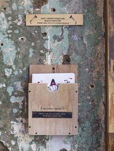 Rustic wooden menu holder. East London Furniture at Dream Bags Jaguar Shoes