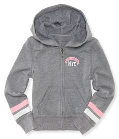 """You're the glammest gal around, so duh, that's why you love sporty threads like our Girl Squad NYC Zip-Front Hoodie -- it's got tons of glitter! This fab layer features a sparkly chest graphic, sleeve stripes and a super-adorbs heart graphic on the back that shines and shines.<br><br>Slim fit. No drawstring. Approx. length (10): x""""<br><br>Style: 4022. Imported.<br><br>60% cotton, 40% polyester.<br>Machine wash/dry."""