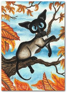 SALE - Siamese Cat Autumn Trees Fall Leaves - Art Prints & ACEOs by Bihrle ck273
