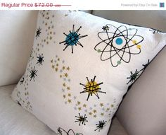 SPRING SALE Atomic Starburst Throw Pillow Cover by atomiclivinhome, $64.80