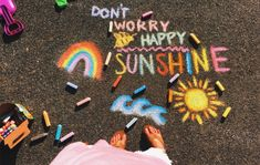 Summer vibes are coming! Summer Vibes, Summer Fun, Summer Goals, Lines Tattoo, Happy Sunshine, Sidewalk Chalk Art, Chalk It Up, Chalk Drawings, Happy Vibes