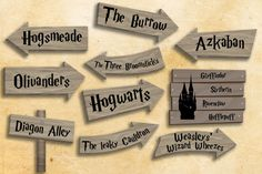 To get in the mood for a perfect Harry Potter-themed party, those signs will give the direction to all major places from the Harry Potter universe!