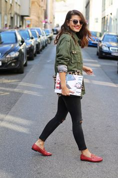 Khaki Utility Jacket | Stiped Shirt | Red Gucci Jordaan Loafer | Dior So Real | Vogue | Fashionnes