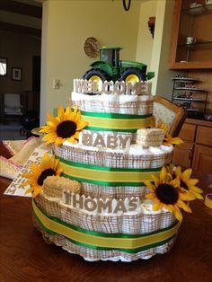 Country John Deere diaper cake