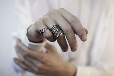 Elvish Twine  stacking ring dark silver twig ring  by redsofa