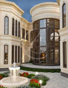 Neoclassical Palace Design- A double height glazed wall with brown window frames… Classic House Exterior, Classic House Design, Dream House Exterior, Dream Home Design, Classic Style, Villa Design, Facade Design, Exterior Design, Neoclassical Architecture