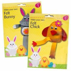 Make your own Felt Bunny or Chick for Easter. Ideal to keep the kids entertained this Easter - with full instructions. Each pack sold separately. Make Your Own, Make It Yourself, How To Make, Felt Bunny, Easter Party, Easter Treats, Party Tableware, 70th Birthday, Bake Sale