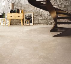 Porcelain stoneware presented in an unprecedented double version: 2 cm thick version for exteriors and 1 cm thick lapped version Ceramic Flooring, Terrazzo, Floors, Tile Floor, Tiles, Sweet Home, Stairs, House Design, Beige