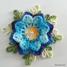 Transcendent Crochet a Solid Granny Square Ideas. Inconceivable Crochet a Solid Granny Square Ideas. Art Au Crochet, Crochet Puff Flower, Crochet Flower Tutorial, Crochet Diy, Crochet Motifs, Crochet Flower Patterns, Crochet Squares, Crochet Designs, Crochet Flowers