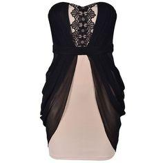 APPLIQUE DRAPE SIDE DRESS ($40) ❤ liked on Polyvore featuring dresses, vestidos, applique dress and drape dress