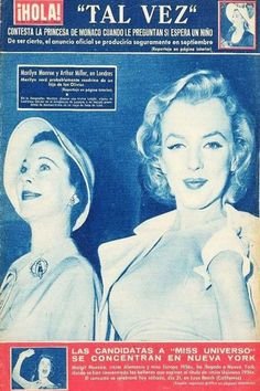 1956: Hola (Spanish) magazine cover of Marilyn Monroe with Vivien Leigh .... #marilynmonroe #normajeane #vintagemagazine #pinup #iconic #raremagazine #magazinecover #hollywoodactress #1950s