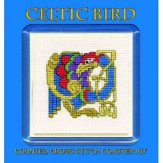 Celtic Bird Counted Cross Stitch Coaster Kit by Textile Heritage COCB   #StPatricksDay #Buttons #crafts #homemade #DIY #crossstitch #artsandcrafts