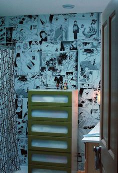 I love the idea of this space! I whole bathroom covered in enlarged manga pages? Who wouldn't love that!?