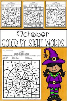 Halloween Color by Sight Words Fun Halloween Activities, Classroom Activities, Halloween Themes, Halloween Fun, Fun Activities, Kindergarten Classroom, Sight Word Worksheets, Sight Word Activities, Coloring For Kids