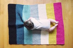 color block knitted baby blanket by nanoutriko on Etsy, $89.00
