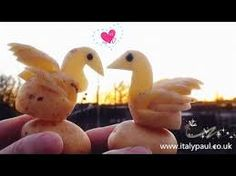 ItalyPaul - Art In Fruit & Vegetable Carving Lessons: Art In Potato Birds Swans Ducks Vegetable Animals, Fruit And Vegetable Carving, Food Art, Special Gifts, Potatoes, Birds, Christmas Ornaments, Vegetables, Holiday Decor