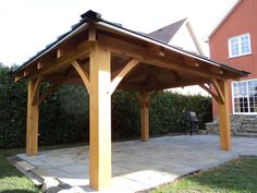 Réalisations - Éco-habitations Le Draveur Patio Gazebo, Pergola, Backyard, Car Shelter, Slate Roof, Post And Beam, Taste Of Home, Pavilion, Outdoor Gardens