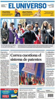 Portada de #DiarioELUNIVERSO del viernes 8 de noviembre del 2013. Las noticias del día en: www.eluniverso.com