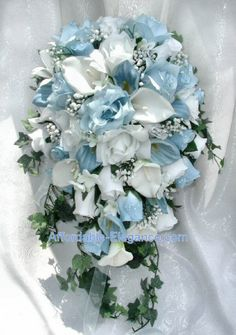 Light Blue White CALLA LILY ROSES Bridal bouquet, would be absolutely perfect with more baby's breath Cascading Bridal Bouquets, Cascade Bouquet, White Wedding Bouquets, Blue Bouquet, White Wedding Flowers, Bride Bouquets, Flower Bouquet Wedding, Wedding Blue, Trendy Wedding