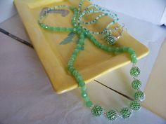 Light Green-colored Beaded Necklace with Silver Mesh Covering the Medium Beads by kaysjewelrydesign on Etsy