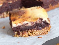 Cheesecake-brownie-flapjacks. I do not think I will ever have the patience to make these, but they sounds so freaking awesome I have to pin them just in case.