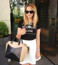 Fashion Tee + White Skirt + Statement Necklace