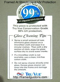 UV protective glass is critical to preventing framed objects from fading. A good framer will put a sticker on the dust cover for the framed piece. This sticker on a frame's dust cover indicates the framer used 99% UV protective glass. For quality framing, go to http://framedguidons.com #militaryframing #militarframer #guidons #framedguidons #customframing