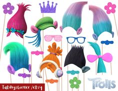 Trolls Photo Booth Props | CatchMyParty.com