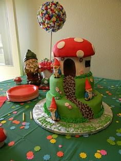 Gnome Cake  I can't accurately express how badly I want this cake for my next birthday celebration. I adore gnomes<3