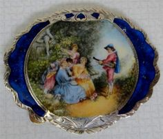 Vintage 800 Italian Silver & Enamel COMPACT with Hand Painted Romantic Scene