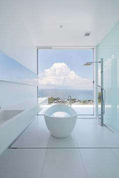 Bathing - the ultimate joy of life, combines with the picturesque view outside. Best Bathroom Designs, Bathroom Interior Design, Minimalist Bathroom, Minimalist Home, Open Bathroom, Glass Bathroom, Interior Minimalista, Interior Exterior, Beautiful Bathrooms