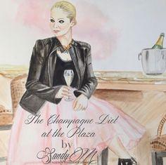 Custom Fashion Illustration of Cara of The Champagne Diet at the Plaza by #fashionillustrator SANDY M via www.sandymillustration.com blog