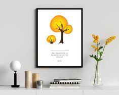 Yellow tree wall art, a vector illustration with motivationa quatation by RIXdiary on Etsy Tree Wall Art, Wall Art Decor, Yellow Tree, Purple Orchids, Paper Wallpaper, Pillow Fabric, Digital Wall, Material Design, Printable Wall Art