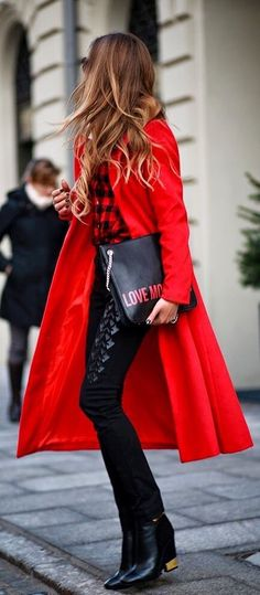 Red Coat & Leather Pants