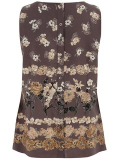 EVANS GREY FLORAL BORDER SHELL TOP  Price:$57.00