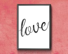 Items similar to Love Printable Love Words, Etsy Handmade, Word Art, Printable Wall Art, Art Boards, Canvas Wall Art, Greeting Cards, Framed Prints, Calligraphy