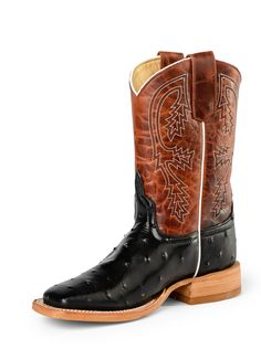 Anderson Bean Kids Boots - Black Full Quill Ostrich Print / Rust Lava
