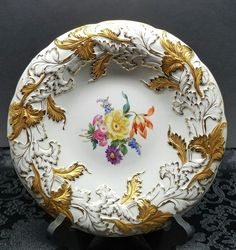 Antique Meissen Rococo Floral w Gold Gilt Porcelain Centerpiece Charger Bowl | Pottery & Glass, Pottery & China, China & Dinnerware | eBay!