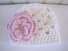 Cute & Kozy Crocheted Girls Hat  White with Pink by Kookstickers, $15.00