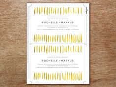 A printable wedding invitation featuring gold strokes across. Easy to make, just download, enter your wedding invitation wording, print and cut.