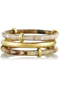 Ashley Pittman|Karibu set of three horn and gold-tone bangles|NET-A-PORTER.COM