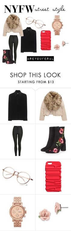 """""""NYFW Street Style #5"""" by areyouferal ❤ liked on Polyvore featuring Norma Kamali, Topshop, FOSSIL and 1928"""